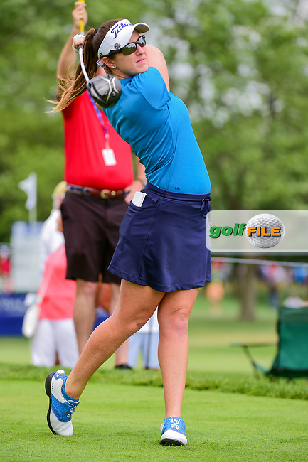 Amelia Lewis (USA) watches her tee shot on 18 during Thursday's round 1 of the 2017 KPMG Women's PGA Championship, at Olympia Fields Country Club, Olympia Fields, Illinois. 6/29/2017.<br /> Picture: Golffile | Ken Murray<br /> <br /> <br /> All photo usage must carry mandatory copyright credit (&copy; Golffile | Ken Murray)