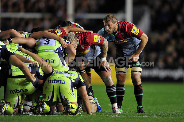 Chris Robshaw of Harlequins looks on at a scrum. Aviva Premiership match, between Harlequins and Sale Sharks on November 6, 2015 at the Twickenham Stoop in London, England. Photo by: Patrick Khachfe / Onside Images