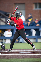 Rutgers Scarlet Knights pinch hitter Garrett French (12) at bat against the Michigan Wolverines on April 26, 2019 in the NCAA baseball game at Ray Fisher Stadium in Ann Arbor, Michigan. Michigan defeated Rutgers 8-3. (Andrew Woolley/Four Seam Images)