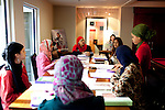 For a Brian Knowlton FF story on Muslim women in the US..USA, Atlanta, GA. 10, NOVEMBER, 2010. Tayyibah Taylor is the publisher and editor-in-chief of Azizah: The Voice For Muslim Magazine, a magazine published in Atlanta, Georgia. An editorial meeting for the magazine takes place and includes Mariam Aziz (l to r), Fadoua Abida, Azizah Kahera, Tayyibah Taylor, Lazina Choudry, Shéshé Todd, and Jamilah Todd... //// KENDRICK BRINSON/LUCEO for the International Herald Tribune