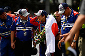 Verizon IndyCar Series<br /> Indianapolis 500 Race<br /> Indianapolis Motor Speedway, Indianapolis, IN USA<br /> Sunday 28 May 2017<br /> Takuma Sato, Michael Andretti Autosport Honda celebrates the win on track<br /> World Copyright: Scott R LePage<br /> LAT Images<br /> ref: Digital Image lepage-170528-indy-10659<br /> ref: Digital Image lepage-170528-indy-10733