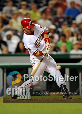 12 July 2008: Washington Nationals' catcher Jesus Flores at bat against the Houston Astros at Nationals Park in Washington, DC. The Astros defeated the Nationals 6-4 in the second game of their 3-game series...Mandatory Photo Credit: Ed Wolfstein Photo