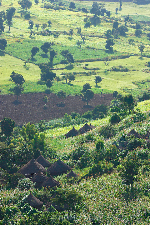 GONDAR/ETHIOPIA..On the road from Gondar to Bahar Dar..A traditional village with circular, hay-covered huts in a lush landscape at the end of the rainy season..(Photo by Heimo Aga)