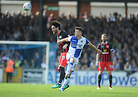Blackburn Rovers' Danny Graham battles with Bristol Rovers' Ollie Clarke<br /> <br /> Photographer Ashley Crowden/CameraSport<br /> <br /> The EFL Sky Bet League One - Bristol Rovers v Blackburn Rovers - Saturday 14th April 2018 - Memorial Stadium - Bristol<br /> <br /> World Copyright &copy; 2018 CameraSport. All rights reserved. 43 Linden Ave. Countesthorpe. Leicester. England. LE8 5PG - Tel: +44 (0) 116 277 4147 - admin@camerasport.com - www.camerasport.com