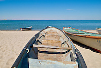 Boats on beach at Sea of Cortez, La Paz, Baja, Mexico