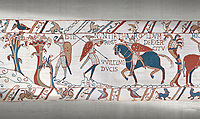 Bayeux Tapestry scene 50:  A saxon watchman warns of the approaching Norman army.