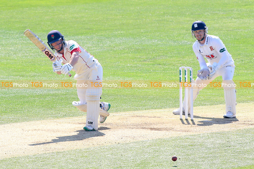 Alex Davies in batting action for Lancashire as Adam Wheater looks on from behind the stumps during Essex CCC vs Lancashire CCC, Specsavers County Championship Division 1 Cricket at The Cloudfm County Ground on 9th April 2017