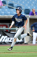 Ryan Mountcastle (15) of Hagerty High School in Winter Springs, Florida playing for the Tampa Bay Rays scout team during the East Coast Pro Showcase on July 31, 2014 at NBT Bank Stadium in Syracuse, New York.  (Mike Janes/Four Seam Images)