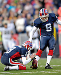 26 November 2006: Buffalo Bills punter Brian Moorman (8) holds the ball for kicker Rian Lindell (9) who scores the game winning field goal against the Jacksonville Jaguars at Ralph Wilson Stadium in Orchard Park, NY. The Bills defeated the Jaguars 27-24. Mandatory Photo Credit: Ed Wolfstein Photo<br />