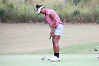 CHAPEL HILL, NC - OCTOBER 13: Aneka Seumanutafa of the Ohio State University sinks a putt at UNC Finley Golf Course on October 13, 2019 in Chapel Hill, North Carolina.