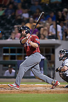 Darin Ruf (28) of the Lehigh Valley Iron Pigs follows through on his swing against the Charlotte Knights at BB&T BallPark on June 3, 2016 in Charlotte, North Carolina.  The Iron Pigs defeated the Knights 6-4.  (Brian Westerholt/Four Seam Images)