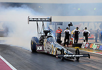 Sept. 16, 2012; Concord, NC, USA: NHRA top fuel dragster driver Shawn Langdon during the O'Reilly Auto Parts Nationals at zMax Dragway. Mandatory Credit: Mark J. Rebilas-