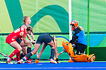 Lily Owsley #26 of Great Britain shoots and scores during Netherlands vs Great Britain in the gold medal final at the Rio 2016 Olympics at the Olympic Hockey Centre in Rio de Janeiro, Brazil.