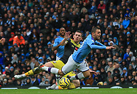 2nd November 2019; Etihad Stadium, Manchester, Lancashire, England; English Premier League Football, Manchester City versus Southampton; Jan Bednarek of Southampton earns a yellow card for a trip on Bernardo Silva of Manchester City - Strictly Editorial Use Only. No use with unauthorized audio, video, data, fixture lists, club/league logos or 'live' services. Online in-match use limited to 120 images, no video emulation. No use in betting, games or single club/league/player publications