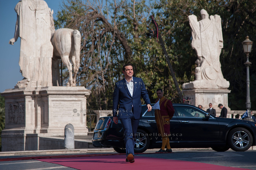 Rome, Italy, March 25,2017. Greek Prime Minister Alexis Tsipras arrives for an EU summit at the Palazzo dei Conservatori in Rome. EU leaders gather in Rome on Saturday to celebrate the 60th anniversary of the EU's founding treaty.