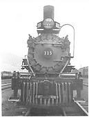 Head-on view of D&amp;RGW #315 front end.<br /> D&amp;RGW