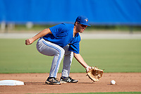 Toronto Blue Jays second baseman Cullen Large (3) picks a warmup throw from the catcher during an Instructional League game against the Pittsburgh Pirates on October 14, 2017 at the Englebert Complex in Dunedin, Florida.  (Mike Janes/Four Seam Images)