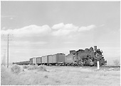 D&amp;RGW #494 with westbound mixed-gauge freight nearing La Jara.<br /> D&amp;RGW  La Jara, CO  Taken by Richardson, Robert W. - 3/31/1950