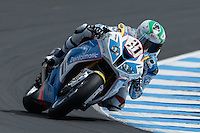 Vittorio Iannuzzo (ITA) riding the BMW S1000 RR (31) of the Grillini DENTALMATIC SBK Team rounds turn 6 during a qualifying session on day one of round one of the 2013 FIM World Superbike Championship at Phillip Island, Australia.