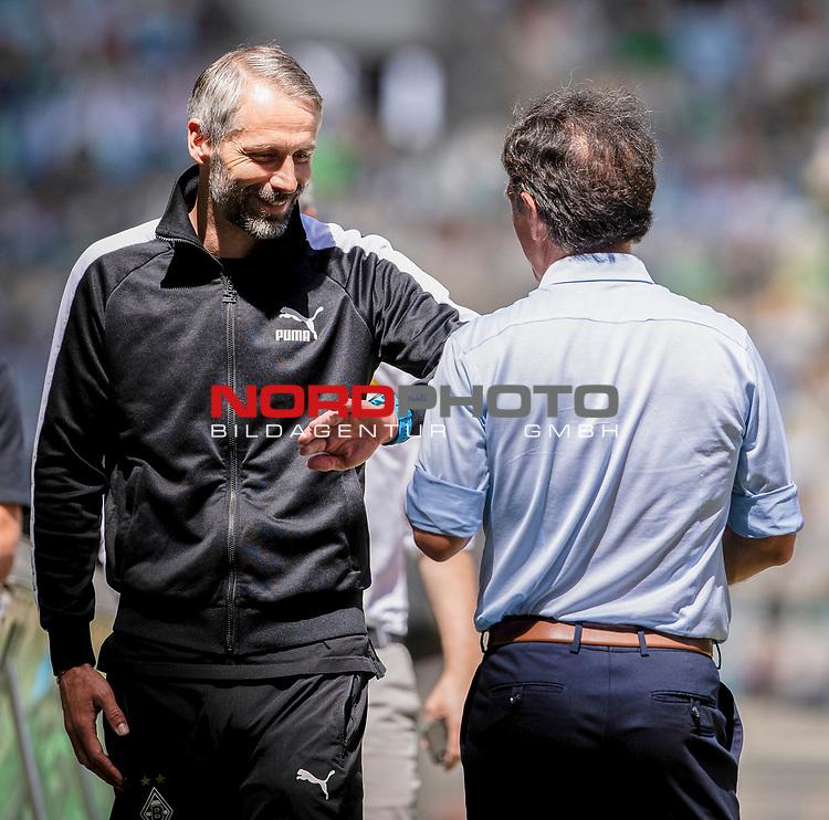 Shake Hands zwischen Trainer Marco Rose (Bor. Moenchengladbach) (links) und Trainer Bruno Labbadia (Hertha BSC Berlin) vor dem Spiel.<br /><br />27.06.2020, Fussball, 1. Bundesliga, Saison 2019/20, 34. Spieltag, Borussia Moenchengladbach - Hertha BSC Berlin, <br /><br />Foto: MORITZ MUELLER/POOL/via/Meuter/Nordphoto<br />Only for Editorial use