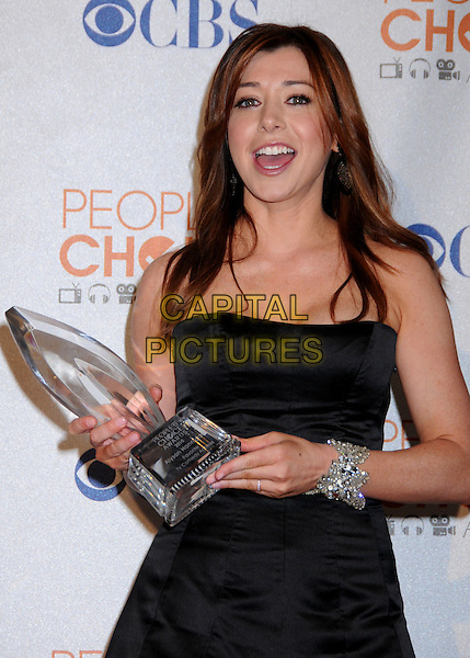 ALYSON HANNIGAN.Pressroom at the 36th Annual People's Choice Awards held at the Nokia Theatre LA Live, Los Angeles, California, USA..January 6th, 2009.press room award trophy black dress half length mouth open bracelet  silver strapless.CAP/ADM/BP.©Byron Purvis/AdMedia/Capital Pictures.