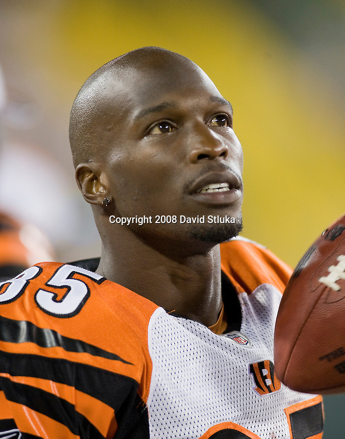 Wide receiver Chad Johnson #85 of the Cincinnati Bengals looks on from the sideline during the game against the Green Bay Packers at Lambeau Field on August 11, 2008 in Green Bay, Wisconsin. The Bengals beat the Packers 20-17. (AP Photo/David Stluka)