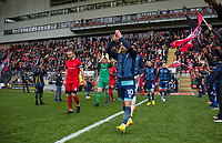 Matt Bloomfield of Wycombe Wanderers leads out the Wycombe team ahead of the Sky Bet League 2 match between Leyton Orient and Wycombe Wanderers at the Matchroom Stadium, London, England on 1 April 2017. Photo by Andy Rowland.