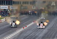 Jul. 19, 2014; Morrison, CO, USA; NHRA top fuel driver Shawn Langdon (left) alongside Steve Torrence during qualifying for the Mile High Nationals at Bandimere Speedway. Mandatory Credit: Mark J. Rebilas-