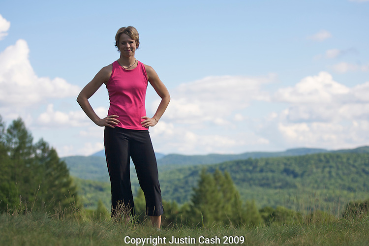 Young woman working out in Woodstock, Vermont, 2009.  This image has a signed model release.