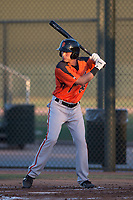 AZL Giants Orange left fielder Tyler Flores (26) at bat during an Arizona League game against the AZL Athletics at Lew Wolff Training Complex on June 25, 2018 in Mesa, Arizona. AZL Giants Orange defeated the AZL Athletics 7-5. (Zachary Lucy/Four Seam Images)