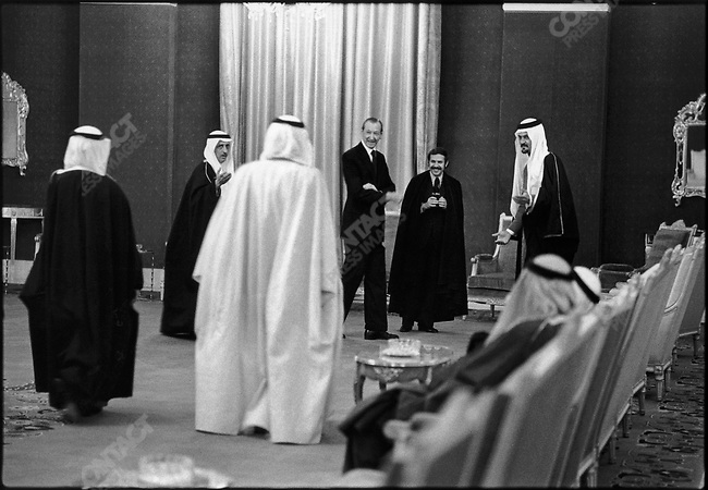 The Secretary-General of the United Nations Kurt Waldheim, accompanied by Algeria's foreign affairs minister Abdelaziz Bouteflika meets with Saud al-Faisal, the foreign minister of Saudi Arabia, as part of a trip for a Middle East peace settlement. Riyadh, Saudi Arabia, February 1977