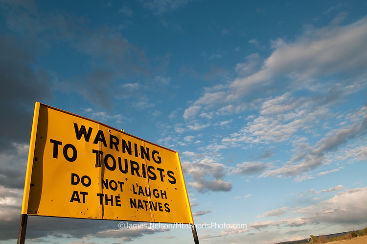 A sign erected in the 1960s on the outskirts of Idaho Falls, Idaho, by Stinker (Gas) Stations to provide motorists with some comic relief.