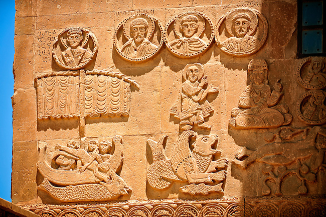 Bas Releif sculptures with scenes from the Bible, far left Jonah id swallowed by a whale,  on the outside of the 10th century Armenian Orthodox Cathedral of the Holy Cross on Akdamar Island, Lake Van Turkey 41