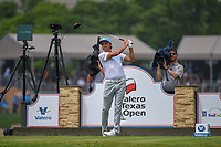 Rickie Fowler (USA) watches his tee shot on 11 during day 3 of the Valero Texas Open, at the TPC San Antonio Oaks Course, San Antonio, Texas, USA. 4/6/2019.<br /> Picture: Golffile | Ken Murray<br /> <br /> <br /> All photo usage must carry mandatory copyright credit (© Golffile | Ken Murray)