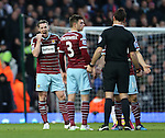 West Ham's Kevin Nolan looks at referee Mark Clattenburg<br /> <br /> Barclays Premier League- West Ham United vs Manchester United  - Upton Park - England - 8th February 2015 - Picture David Klein/Sportimage