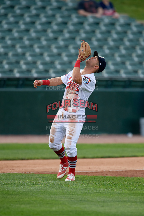 Peoria Chiefs third baseman Danny Hudzina (26) tracks a pop up during a game against the West Michigan Whitecaps on May 9, 2017 at Dozer Park in Peoria, Illinois.  Peoria defeated West Michigan 3-1.  (Mike Janes/Four Seam Images)