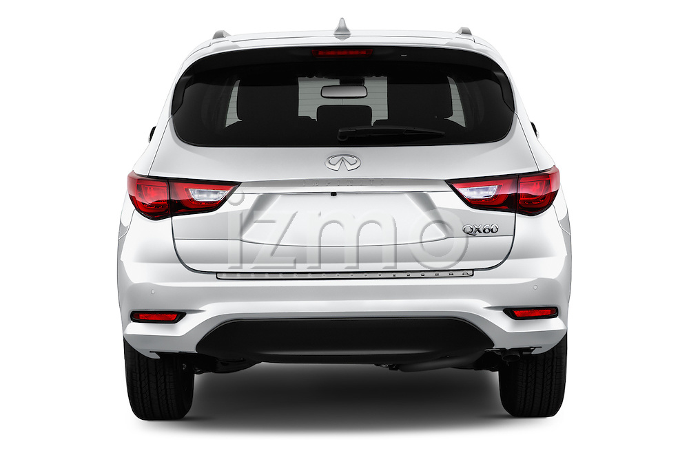 Straight rear view of 2017 Infiniti QX60 Hybrid 5 Door SUV Rear View  stock images