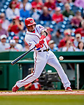 26 September 2018: Washington Nationals outfielder Victor Robles leads off the first inning with a single against the Miami Marlins at Nationals Park in Washington, DC. The Nationals defeated the visiting Marlins 9-3, closing out Washington's 2018 home season. Mandatory Credit: Ed Wolfstein Photo *** RAW (NEF) Image File Available ***