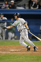 September 5, 2009:  Mark Wyatt (28) of the Jamestown Jammers at bat during a game at Dwyer Stadium in Batavia, NY.  The Jammers are the NY-Penn League Short-Season Class-A affiliate of the Florida Marlins.  Photo By Mike Janes/Four Seam Images