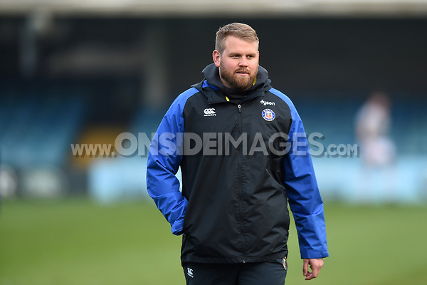Mark Lilley of Bath Rugby looks on during the pre-match warm-up. Premiership Rugby Shield match, between Bath United and Gloucester United on April 8, 2019 at the Recreation Ground in Bath, England. Photo by: Patrick Khachfe / Onside Images