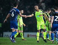 Bolton Wanderers' Chris O'Grady shakes hands with  Rochdale's Eoghan O'Connell at the end of the match<br /> <br /> Photographer Andrew Kearns/CameraSport<br /> <br /> The EFL Sky Bet League One - Rochdale v Bolton Wanderers - Saturday 11th January 2020 - Spotland Stadium - Rochdale<br /> <br /> World Copyright © 2020 CameraSport. All rights reserved. 43 Linden Ave. Countesthorpe. Leicester. England. LE8 5PG - Tel: +44 (0) 116 277 4147 - admin@camerasport.com - www.camerasport.com