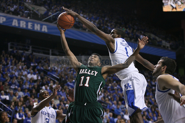 UK's Darius Miller block an attempt to the basket by Mississippi Valley State's D'Angelo Jackson at Rupp Arena on Saturday, Dec. 18, 2010. Photo by Scott Hannigan | Staff