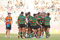 The team wrestle, Rabbitohs v Vodafone Warriors, NRL rugby league premiership. Optus Stadium, Perth, Western Australia. 10 March 2018. Copyright Image: Daniel Carson / www.photosport.nz