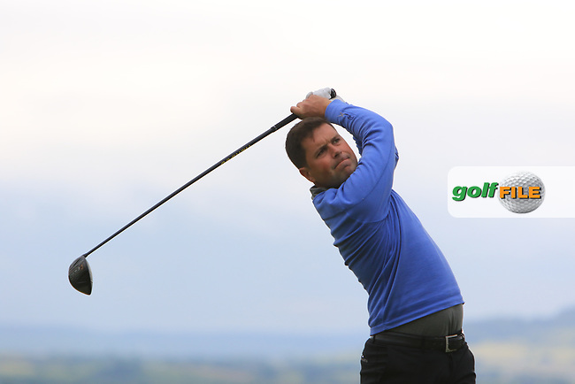 Matthew McAlpin (Royal Portrush) on the 18th tee during Round 2 of the North of Ireland Amateur Open Championship 2019 at Portstewart Golf Club, Portstewart, Co. Antrim on Tuesday 9th July 2019.<br /> Picture:  Thos Caffrey / Golffile<br /> <br /> All photos usage must carry mandatory copyright credit (© Golffile | Thos Caffrey)