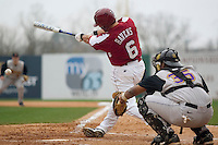Shortstop Reese Havens (6) of the South Carolina Gamecocks follows through on his swing versus the East Carolina Pirates at Sarge Frye Field in Columbia, SC, Sunday, February 24, 2008.