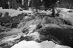 """The River"" Black and White.  Eagle Falls waterfall at Emerald Bay, Lake Tahoe, CA.  I hiked out to Lower Eagle Falls above Emerald Bay during the Winter of 2013. The road was closed due to avalanche danger so I had the whole area to myself for the entire day.  Emerald Bay may be the most visited and photographed area in all of Lake Tahoe but on a few days you can enjoy the beauty in solitude. I shot both stills and HD 1080 video of the waterfall and Emerald Bay."