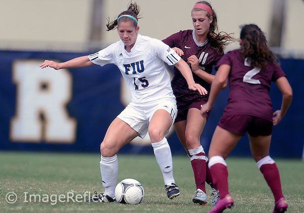 Florida International University women's soccer midfielder Crystal McNamara (15) plays against University of Arkansas Little Rock on October 21, 2012 at Miami, Florida. FIU won the game 7-0. .