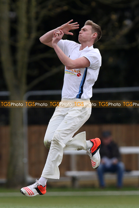 Adam Barton in bowling action for Cambridge during Cambridge MCCU vs Essex CCC, English MCC University Match Cricket at Fenner's on 1st April 2016