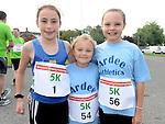 Orla and Aoibheann Carolan and Abbie Sheridan who ran the Ferdia Challange 5K run in Ardee. Photo:Colin Bell/pressphotos.ie