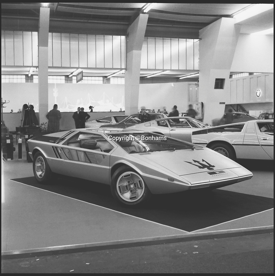 BNPS.co.uk (012902 558833)<br /> Pic: Bonhams/BNPS<br /> <br /> At the Turin motor show from 1972.<br /> <br /> Glass act - The return of the Boomerang.<br /> <br /> Futuristic Maserati from over 40 years ago still looks cutting edge today.<br /> <br /> A one-of-a-kind Maserati supercar is tipped to fetch a whopping £3million when it comes up for auction at Bonhams.<br /> <br /> The Maserati Boomerang, a signature concept car built in the 1970s, looks like something Marty McFly would travel Back To The Future in, with its geometric shapes and straight lines.<br /> <br /> The one-off prototype that was first unveiled at the 1971 Turin Motor Show when it would have been unlike anything that had ever been seen is to be sold by auctioneers Bonhams.